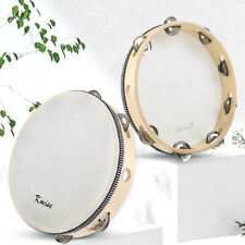 More details for kmise tambourine 10 inch hand held drum percusion metal jingles bell birch