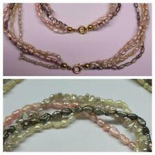 Set ACQUA DOLCE collier catena bracciale di perle 4 fili placcato oro Tre-Colori