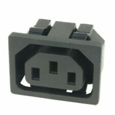 """2 * 3 pin IEC Socket Chassis mounting snap fit 1/4"""""""