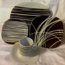 BLOCK CHINA  LANGENTHALTRANSITIONS SQUARE PLATES 5 PC PLACE SETTING SAVAGE  EC