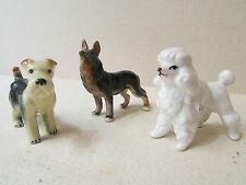 3 statuettes chiens en porcelaine berger allemand caniche fox terrier