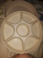 Tupperware vintage almond cream 1665 1666 veggie appetizer chip dip tray lid