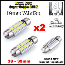 2 x INTERIOR / NUMBER PLATE LED FESTOON 239 38MM 39MM CANBUS BULB IN PURE WHITE