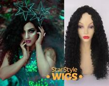 DELUXE LONG CURLY KINKY BLACK FASHION COSTUME FULL AFRO HEAT RESISTANT WIG