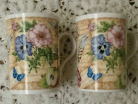 "Set of 2 ""Elite"" mugs, Fine Bone China, Made in England, 4"" Tall"