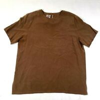 Vintage Saks Fifth Avenue Real Clothes Tank Top Blouse Shirt Womens L Brown Silk