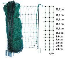 Tierzaun grün 12-50m lang 65-112cm och Netz + Pfähle Garten Zaun Haustiere Zäune