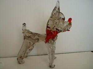 Vintage Large Murano Glass Pink & Red Scottie Terrier Dog Rare Figurine