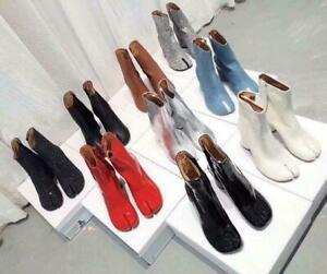 Women Boot Bling Leather Shoe Mid Block Heel Round Split Toe Zip Casual Work Hot