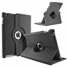 Black Fashion Diamond Leather 360° Rotating Stand Case Cover For iPad 2/3/4