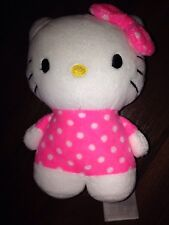 H&m hello kitty Neon Pink Peluche doudou Schmusetier Points Blanc Boucle
