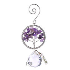 H&D Purple Nature Stone Crystal Prism Ball Suncatcher Window Wedding Decor Gift