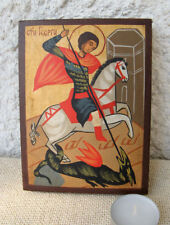Hand Painted Icon of Saint George, model after 17c. Christian orthodox icon