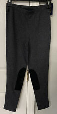 Polo Ralph Lauren girls gray suede Patch Riding Style Leggings - Size L (12-14)