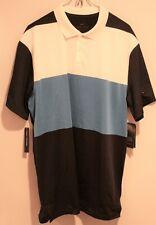 Nike men's DRI-FIT Vapor Golf Polo Shirt Blue Black White Medium NEW