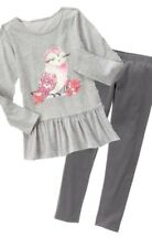 Gymboree Enchanted Winter 6 Owl Tunic & Gray Fuzzy Lined Leggings Set gray