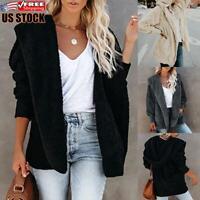 Women's Teddy Bear Fluffy Fleece Hooded Coat Ladies Casual Long Hoodie Jacket