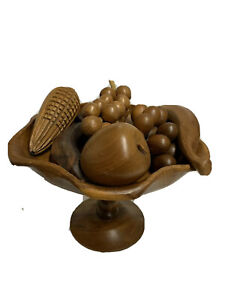 Vintage Solid Wooden Fruits with Grooved Bowl Décor Centerpiece 70s Retro