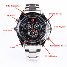 1080P SPY Hidden Camera Watch With IR Night Vision Sound Control Stainless Steel