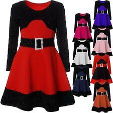 Mädchen Kinder Spitze Kleid Peticoatkleid Festkleid Lang Arm Kostüm 21640