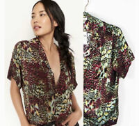 New TINY ANTHROPOLOGIE POSTCARD BUTTONDOWN SHIRT GREEN TOP BLOUSE XS