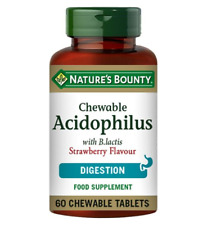 Natures Bounty 60 Chewable Probiotic Acidophilus Natural Strawberry BBE 31/01/20