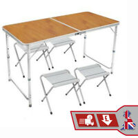 Portable Camping Table Picnic Outdoors Folding Table & Chairs Set Dining Kitchen