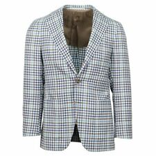 NWT CARUSO Blue/Brown Check Wool 3 Roll 2 Button Sport Coat 44/34 R Drop 7