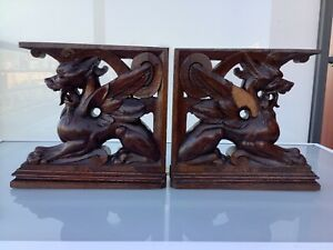 Antique french corbels Wood carved chimera griffin cabinet oak massif