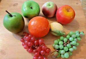 SELECTION OF VINTAGE CERAMIC FRUIT -  APPLE ORANGE LEMON ETC
