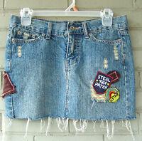 Cute Patched Ladies Girls Vanilla Star 100% Cotton Denim Skirt Size 1