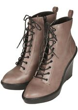 9ddd324641056 Womens Topshop Aria Grey Brown Lace up Wedges Boot Size 6 UK 39 EUR 8.5 US