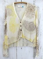 Anthropologie Sparrow Cardigan Sweater Hortensia Floral linen blend crop small