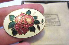 GORGEOUS VINTAGE JEWELLERY CLOISONNE ENAMEL RED ROSE FLOWER BROOCH SHAWL PIN