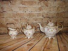 Royal Stafford Violets Pompadour RARE Tea Set Pot Creamer Sugar Bowl Beautiful