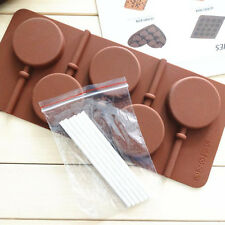 5-Capacity Round Silicone Lollipop Mold Sticks Baking Hard Candy Pop Mould Tray