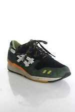 Asics Mens Green Yellow Suede Leather Sneakers Size 11