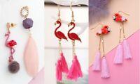 E1073 Betsey Johnson Pink Amazon Flamingos Bird Dangling Feather Earrings UK