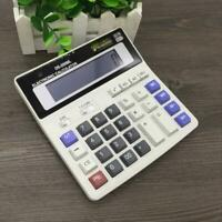 Dual Power Solar Battery 12 Digits Calculator Desk Large Desktop Buttons A4J0