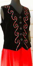 Vintage Velvet Plaid' TARTAN TRIM SZ 14 Dress Red Black Long Modest Vest NWT