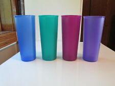 4 pc Tupperware Purple, Blue, Turquoise, Magenta Plastic Tumblers Great Shape!