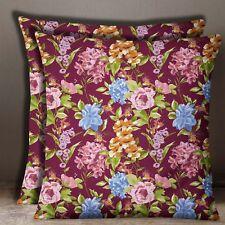 S4Sassy 2 Pcs Floral Print Square Cotton Poplin Maroon Cushion Cover Pillow Case