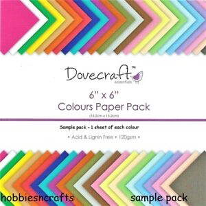 ESSENTIALS COLOURS Dovecraft 6 x 6 Plain Paper Sample Pack 24 Sheets -1 of each
