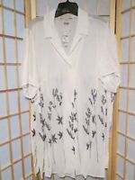 August Max Woman White Black Floral Two Piece Dress Blouse 16/20 NWT