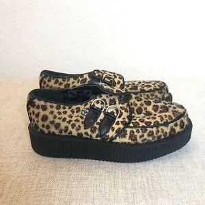 TUK Leopard Plush Platform Shoes Animal Print