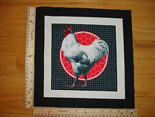 "Rooster/Hen Herringbone (A)  Cotton Quilt Fabric Block 9 1/2"" x 9 1/2"""