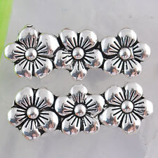Ed1876 8pcs Tibetan silver 3 hole flower connectors