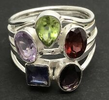 Multi semi-precious stone ring, solid Sterling Silver, UK size O 1/2, new.