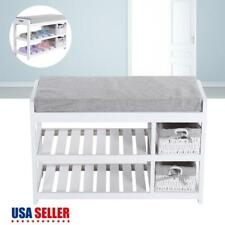 Modern Entryway Shoe Bench Wooden Cabinet W/ Storage Basket Furniture White Us
