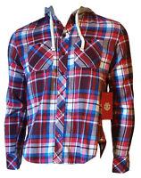 Camicia Flanella Cappuccio Quadri Uomo Casual Cotone Caldo ELEMENT Rosso Tag XS